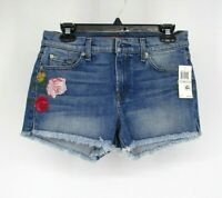 7 For All Mankind 7FAMK Floral Embroidered Cut Off Shorts Size 29 Jean Blue 8034