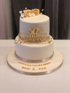 """Wedding Anniversary Glitter Card or Acrylic 6"""" Cake Topper Any Number of years"""