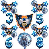 Batman Balloons Superhero Birthday Party Theme Age Number Blue Decorations Comic