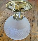 VINTAGE MID-CENTURY ETCHED GLASS & BRASS FLUSH MOUNT CEILING LIGHT FIXTURE shade