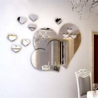 3D Heart Mirror Wall Sticker Decal DIY Art Removable Room Decoration