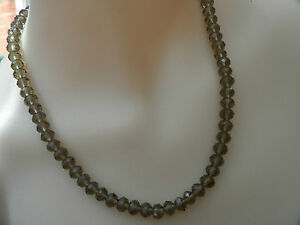 Sterling Silver Necklace Smoky Quartz Tone Glass Faceted Beaded *80