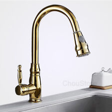 Luxury Gold Counter Vessel Mixer Tap Pull Out Spray Kitchen Sink Swivel Faucet