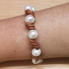 PULSERA de PERLAS CULTIVADAS Y CUERO MARRON natural 10 Perlas cultivadas de 10mm