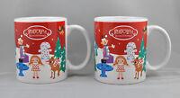 2 Rudolph The Red Nose Reindeer Mug Set Coffee Hot Chocolate Cocoa Bay Island