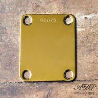Plaque  Fixation Manche Neck Plate pour Strat Tele, P-J-Bass Serial Number Gold