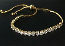 18K Gold Tennis Bracelet made w/ Authentic Swarovski Crystal Clear Stone Trendy