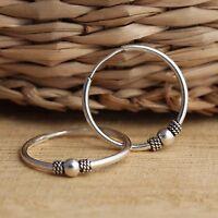 Solid 925 Sterling Silver Bali Style 18mm Hoop Sleeper Earrings