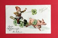 Glückwunsch AK NEUJAHR 1901 Zwerg mit Glücksschwein und Sektflasche  ( 47117