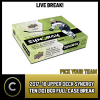 2017-18 UPPER DECK SYNERGY - 10 BOX FULL CASE BREAK #H423 - PICK YOUR TEAM -