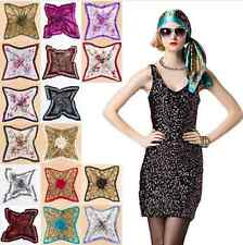 Women Big Square Silk-like Satin Large Scarf Wrap Printing shawl 90x90cm