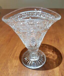 Depression Glass / Art Deco Pressed Clear Glass Vase