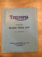 Triumph Master de Recambio Lista de Precios No.13 1959 (W6)