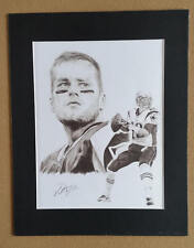 """Tom Brady Pencil Art Print With 11""""x14"""" Mat Frame Signed by Artist"""