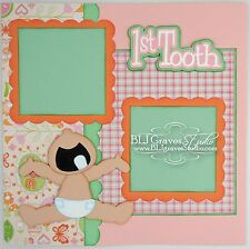 CraftEcafe Premade Scrapbook Page First Tooth Baby Girl BLJgraves 57
