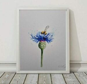 New Elle Smith large original signed watercolour art painting Bee & Cornflower