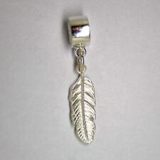 FEATHER - Solid 925 sterling silver European charm bead / Pendant- 1.2 g - 29 mm