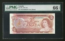 1974 Bank of Canada $2 Dollar, BC-47b, PMG 66 Gem Unc, Crow/Bouey