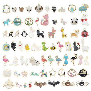 20pcs Assorted Mixed Enamel Alloy Animal Series Pendant Charms DIY Accessories