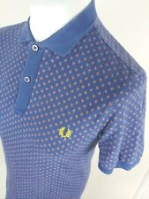 Mens Fred Perry Paisley Polo Shirt Blue Small Slim 38 Chest