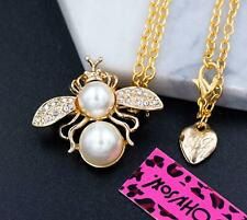 New Betsey Johnson Crystal Rhinestone bee insect Pendant Chain Necklace Brooch