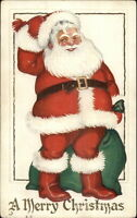 Christmas - Happy Santa Claus w/ Green Sack of Toys c1910 Postcard