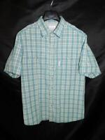 Columbia XL Blue Plaid Shirt Short Sleeve Chest Pockets Sun Protection OmniShade