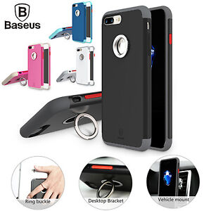 Baseus Magnetic Ring Holder Hybrid PC+TPU Kickstand Cover Case For iPhone 7 Plus