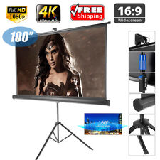 "100"" HD Pull Up Projector Screen Home Theatre Outdoor Projection + Stand Tripod"