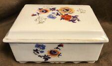 Vintage Porcelain Floral Trinket Box Marked Made In Japan