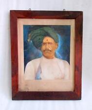 Antique Old Rare Original Signed Tribal Indian Men Turban Portrait Oil Painting