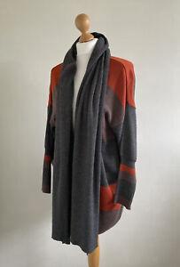 LE TARTARUGHE Italy Stunning Wool/Cashmere Grey, Orange & Brown Cardigan OSFA