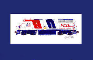"""Western Pacific Bicentennial GP40 1776 11""""x17"""" Matted Print Andy Fletcher signed"""