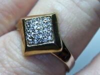STERLING SILVER 925 ESTATE VERMEIL SQUARE FACE CUBIC ZIRCONIA RING SIZE 8.75