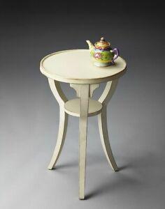 DALTON  Distressed Accent Table, Cottage White H61 x W40cm Butler