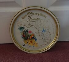 VTG WALT DISNEY WORLD FLORIDA MAP W/ DISNEY CHARACTERS ROUND METAL SERVING TRAY
