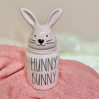 """New Rae Dunn Pink """"HUNNY BUNNY"""" Canister With Bunny Head Lid 2021 Easter VHTF 🐰"""