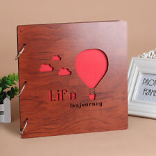 DIY 30Pages 26.9x26.4cm Wood Cover 3Rings Photo Album Wedding Scrapbook BALLOON