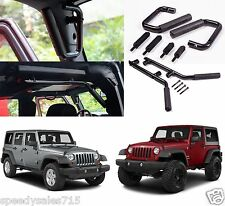 Black Front & Rear Grab Bar Handles For 2007-2017 Jeep Wrangler JK New Free Ship
