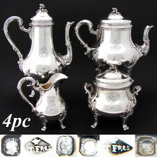Elegant Antique French Sterling Silver 4pc Coffee & Tea Set, Louis XVI Acanthus