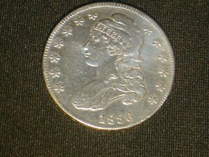 1836 US Philadelphia Mint Capped Bust Liberty Half Dollar 50 Cent Silver Coin