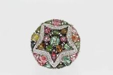 925 Sterling Silver Multicolor Tourmaline w/White Topaz Ring (7.46 cts)