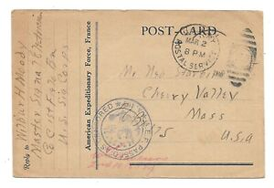 WW1 WWI US soldier Moody, Signal Corps > Starbard, Cherry Valley, MA, Mar 1918