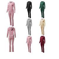 FashionOutfit Women's Athletic Soft Velvet Zip Up Hoodie Sweatpants Set
