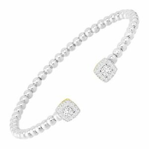 """Welry Cuff Bracelet with White CZ in Rhodium and Gold Flash Plated Bronze, 7"""""""