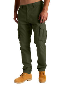 Mens Cargo Combat Work Trousers Chino Cotton Pant Work wear Jeans size 32-44