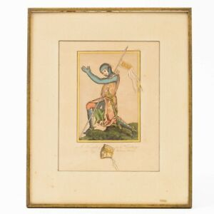 """Framed Plate A Knight of the 13th Century in his Military Habit 11.75"""" x 14.25"""""""