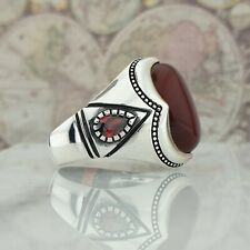 Men Ring HandMade Solid 925 Sterling Silver Red Agate Gemstone Turkish Style