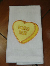 """White Embroidered Finger Tip Towel - Valentine - Candy Heart """"Kiss Me"""""""