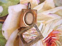 VICTORIAN SWING OUT MOVEABLE BOOK PENDANT CHARM W HIDDEN LOCKET MOTHER OF PEARL